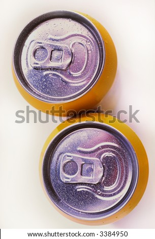 cooled aerated drinks in aluminum banks - stock photo