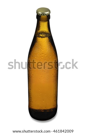 Cooled bottle of beer with water drops