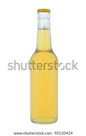 Cooled clear drink beverage glass bottle - stock photo