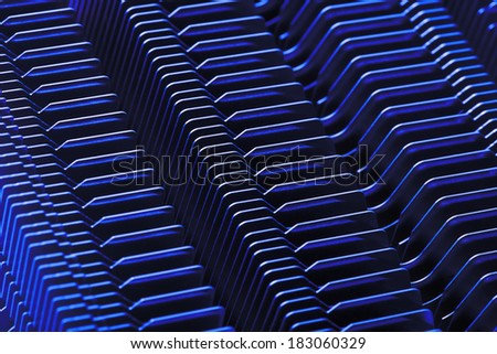 cooling fins on computer processor - stock photo