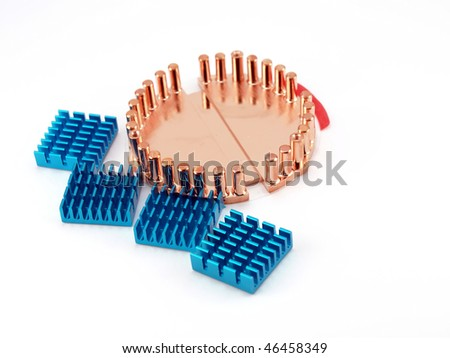 Cooling radiators for processors over white - stock photo