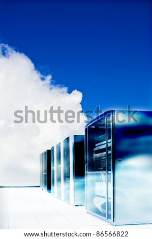 cooling server and fog - stock photo