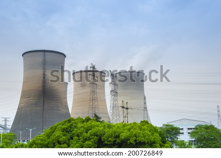 cooling tower closeup in a thermal power plant  - stock photo