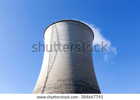 Cooling tower in the background of blue sky