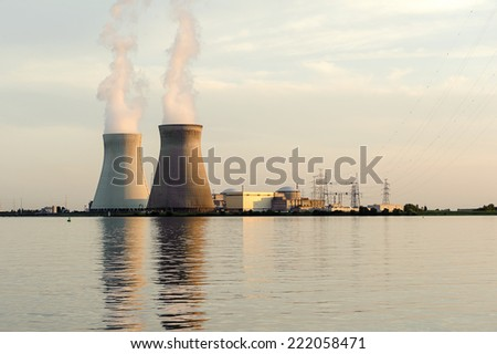 Cooling Towers nuclear power plant, Doel, Belgium. - stock photo