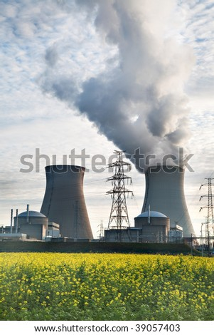 cooling towers of a nuclear power plant electrical energy - stock photo