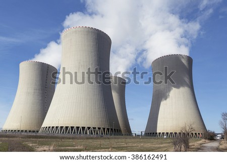 Cooling towers of a nuclear power plant Temelin in the Czech Republic  - stock photo