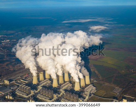 Cooling towers of electrical power plant - stock photo