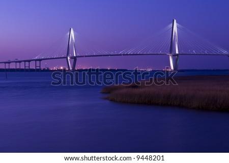 Cooper River Bridge at night Charleston South Carolina - stock photo