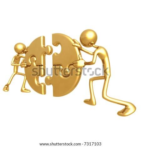 Cooperation Puzzle - stock photo