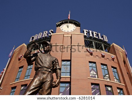 Coors field statue in denver, colorado - stock photo