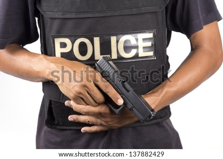 Cop. detective is in bullet-proof vests and gun semi-automatic - stock photo
