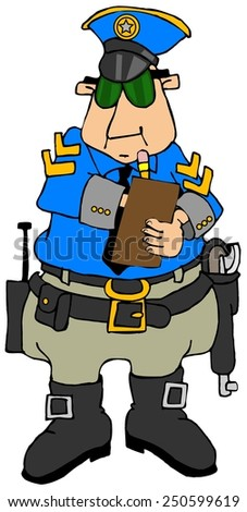 Cop writing a ticket - stock photo