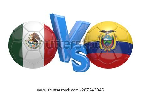 Copa America football competition, national teams Mexico vs Ecuador - stock photo