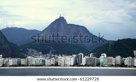 Copacabana and Christ the Redeemer - stock photo
