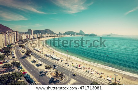 Copacabana Beach and Sugar Loaf Mountain aerial view in Rio de Janeiro,Brazil. Vintage colors