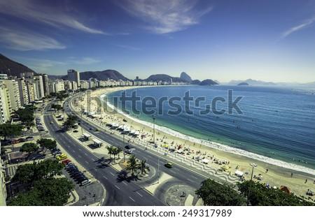 Copacabana Beach and Sugar Loaf Mountain,Rio de Janeiro - stock photo