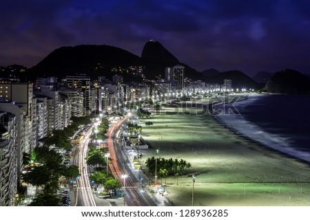 Copacabana Beach at night in Rio de Janeiro - stock photo