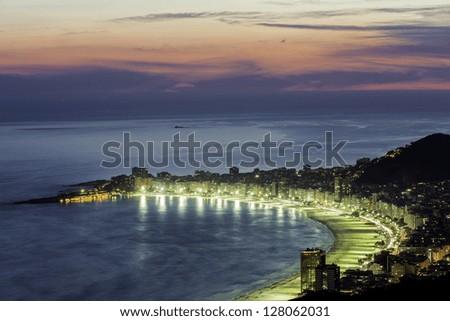 Copacabana Beach at night in Rio de Janeiro, Brazil - stock photo
