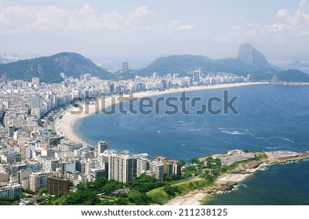 Copacabana beach in Rio de Janeiro, aerial view from helicopter - stock photo
