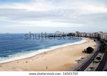 Copacabana beach in Rio de Janeiro, to the southwest, shot from a beachfront rooftop - stock photo