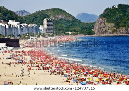 COPACABANA BEACH RIO DE JANEIRO BRAZIL  : Copacabana Beach is one of the most famous and crowded beaches in Rio de Janeiro, Brazil - stock photo