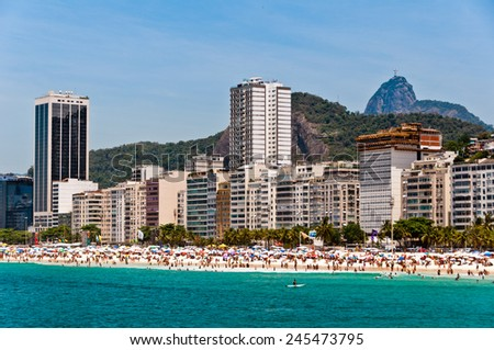 Copacabana Beach View with Mountains and Luxury Residential and Hotel Buildings - stock photo