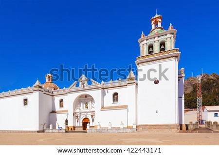 Copacabana Church (Basilica of Our Lady of Copacabana) in Copacabana, Bolivia - stock photo