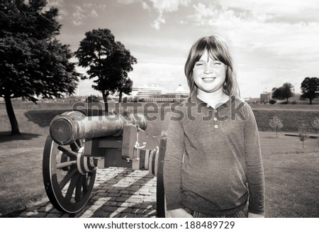 Copenhagen citadel, kastellet, with cannon protecting the city bastion. gun in fortification in Denmark - stock photo