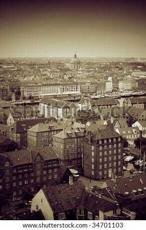 copenhagen city center. capital city of Denmark ariel view of cityscape of oldest kingdom in the world - stock photo