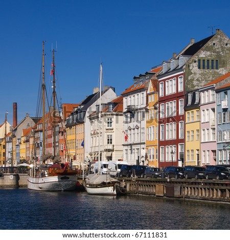 Copenhagen city with channel on front side