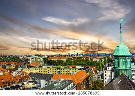 Copenhagen cityscape, houses, Denmark - stock photo
