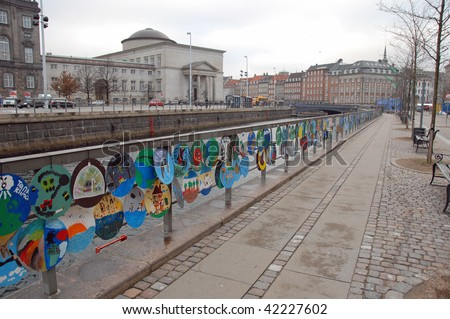 COPENHAGEN – DEC 5: Climate change themed artwork created by children hang outside the Parliament of Denmark while the UN Climate Change Conference takes place on December 5, 2009 in Copenhagen. - stock photo