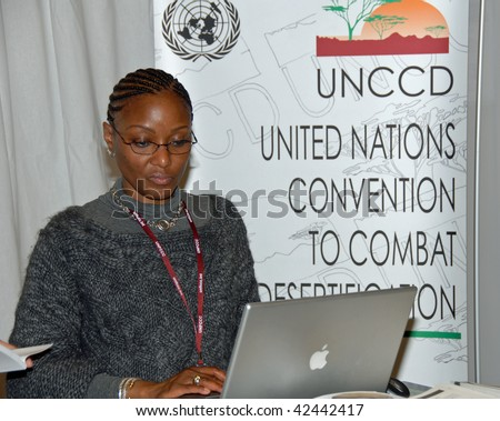 COPENHAGEN - DEC 7: Opening Day, UNCCD stand against desertification in the Bella Center at the UN Climate Change Conference on December 7, 2009 in Copenhagen, Denmark. - stock photo