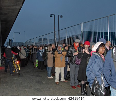 COPENHAGEN - DEC 7: Opening Day, Visitors in queue outside the Bella Center at the UN Climate Change Conference on December 7, 2009 in Copenhagen, Denmark. - stock photo