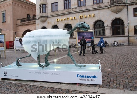 COPENHAGEN - DEC 12: The Ice Bear which is part of the WWF exhibit which takes place in Copenhagen during the UN Conference on Climate Change on December 12, 2009. - stock photo