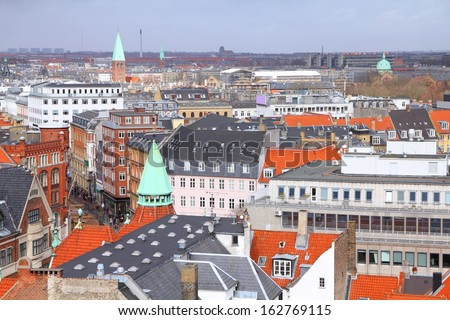 Copenhagen, Denmark - aerial view of the Old Town. Oresund region.