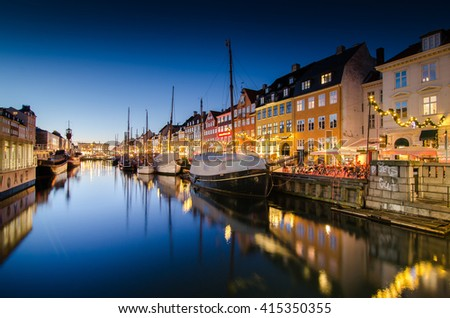 Copenhagen, Denmark at Nyhavn Canal port in Twilight time cityscape background - stock photo