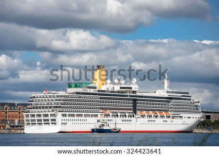 COPENHAGEN, DENMARK - AUGUST 01, 2015: MS Arcadia criuse ship in the port of Copenhagen. MS Arcadia is a cruise ship in the P&O Cruises fleet.