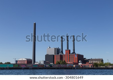 Copenhagen, Denmark - August 9, 2015: Photograph of the H. C. Oersted Power Plant which main task is to supply district heat to Greater Copenhagen.