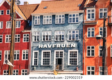 COPENHAGEN, DENMARK - AUGUST 3:Typical architecture in district called Nyhavn in centre of the city on August 3, 2012 in Copenhagen