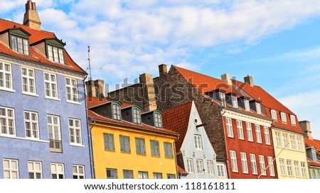 Copenhagen, Denmark - buildings of Nyhavn street - stock photo