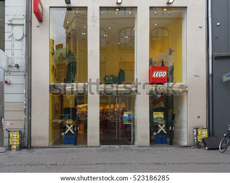 COPENHAGEN, DENMARK - CIRCA JUNE 2016: Lego brand store with Lego brick guards on display
