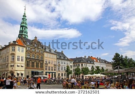 COPENHAGEN, DENMARK - JULY 28, 2012: Amager Square (Amagertorv), pedestrian zone, often described as the most central square in Copenhagen. It is also one of the oldest square of Copenhagen - stock photo