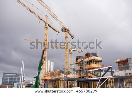 COPENHAGEN, DENMARK - July 27, 2015: Construction site in Copenhagen