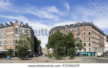 COPENHAGEN, DENMARK - JULY 23,2016: Generic architecture and trees in the summer
