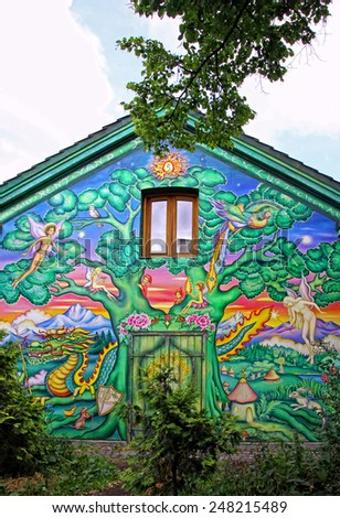 COPENHAGEN, DENMARK - JULY 28, 2012: Graffiti in Christiania (Freetown Christiania) self-proclaimed autonomous neighbourhood, covering 34 hectares in the borough of Christianshavn in Copenhagen - stock photo