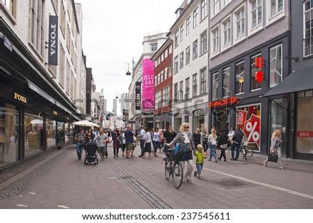 COPENHAGEN, DENMARK - JULY 2: Main street of Copenhagen on July 2, 2014 in Copenhagen - stock photo