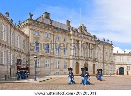 COPENHAGEN, DENMARK - JULY 2 Royal Guard in Amalienborg Castle on July 2, 2014 in Copenhagen - stock photo
