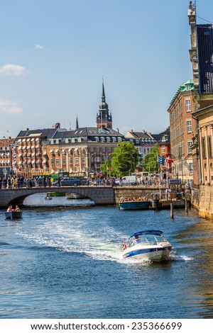 COPENHAGEN, DENMARK - JULY 25: Scenic summer view of the Old Town and canal in Copenhagen, Denmark on July 25, 2014